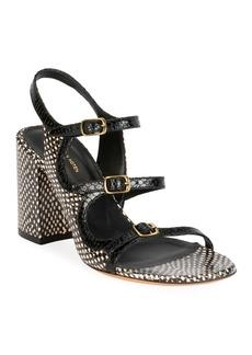 Dries Van Noten Three Thin Strap Block-Heel Sandals