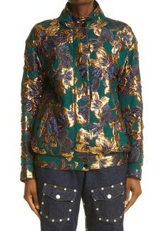 Dries Van Noten Vandi Floral Zip Brocade Jacket