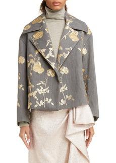 Dries Van Noten Vaudi Brocade Rose Jacket