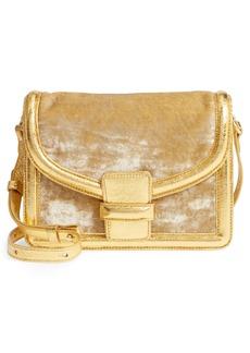 Dries Van Noten Velvet & Metallic Leather Crossbody Bag