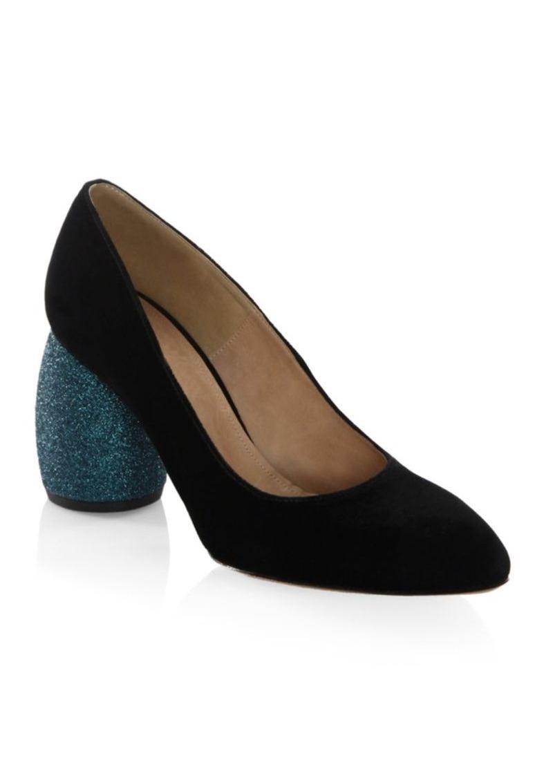 Glitter Heel Velvet Blue Block Heel Shoes