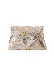 Dries Van Noten Velvet Metallic Leaf Clutch Bag