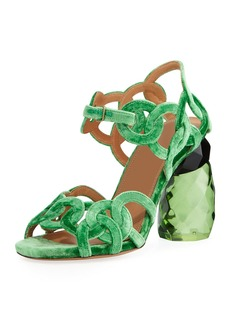 Dries Van Noten Velvet Rings Resin-Heel Sandal