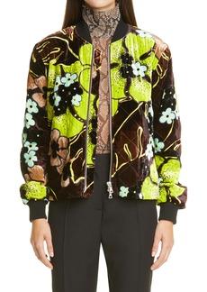 Dries Van Noten Velvet Floral Quilted Jacket
