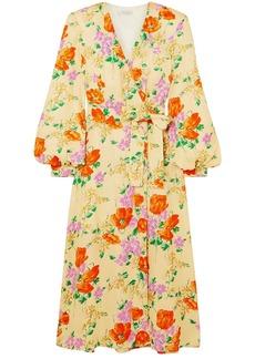 Dries Van Noten Woman Floral-jacquard Midi Wrap Dress Yellow
