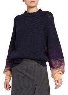 Dries Van Noten Wool Degrade-Sleeve Sweater