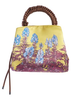 Dries Van Noten Wrapped Handle Floral Print Satin Bag