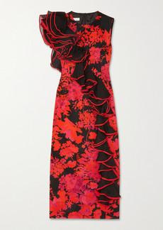 Dries Van Noten Ruffled Organza-trimmed Floral-print Cotton-blend Midi Dress