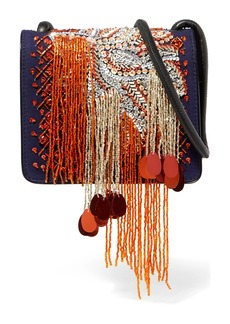 Dries Van Noten Embellished Canvas And Patent-leather Shoulder Bag
