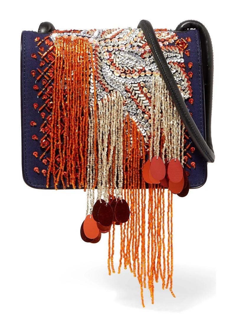 Dries Van Noten Embellished Canvas And Patent-leather Shoulder Bag