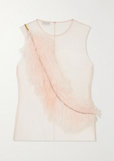 Dries Van Noten Embellished Feather-trimmed Tulle Top