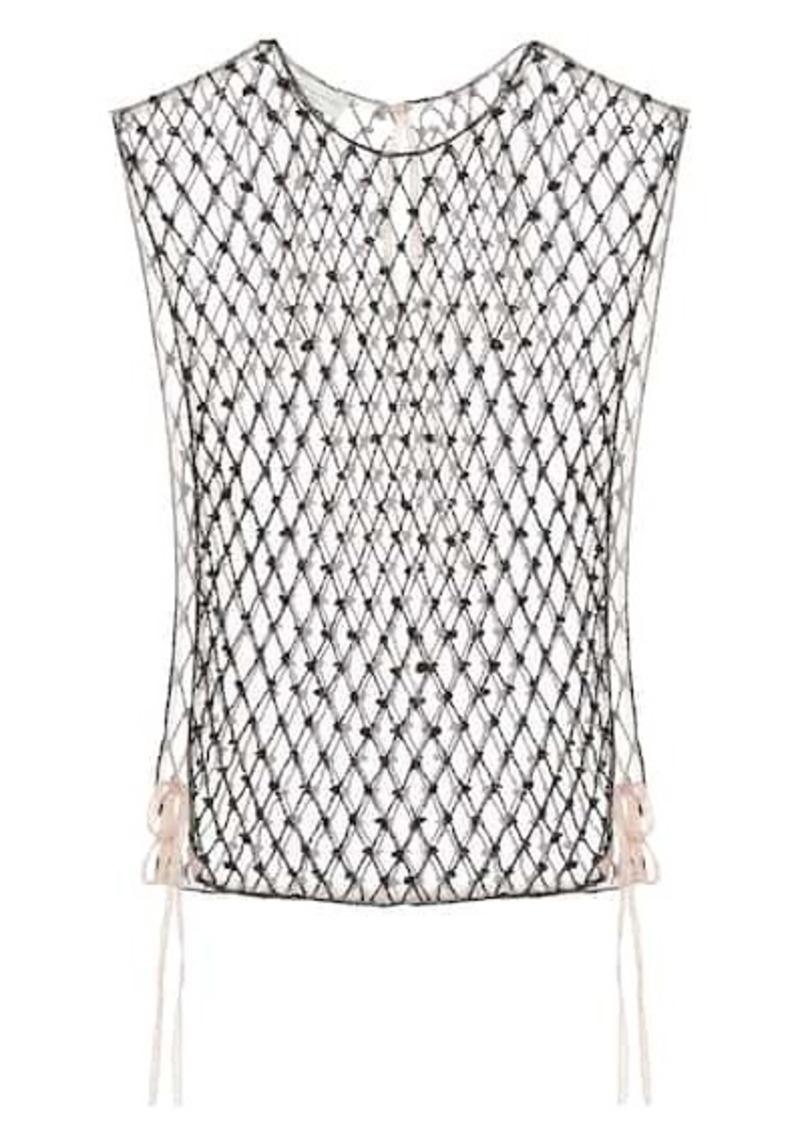 Dries Van Noten Embellished mesh top