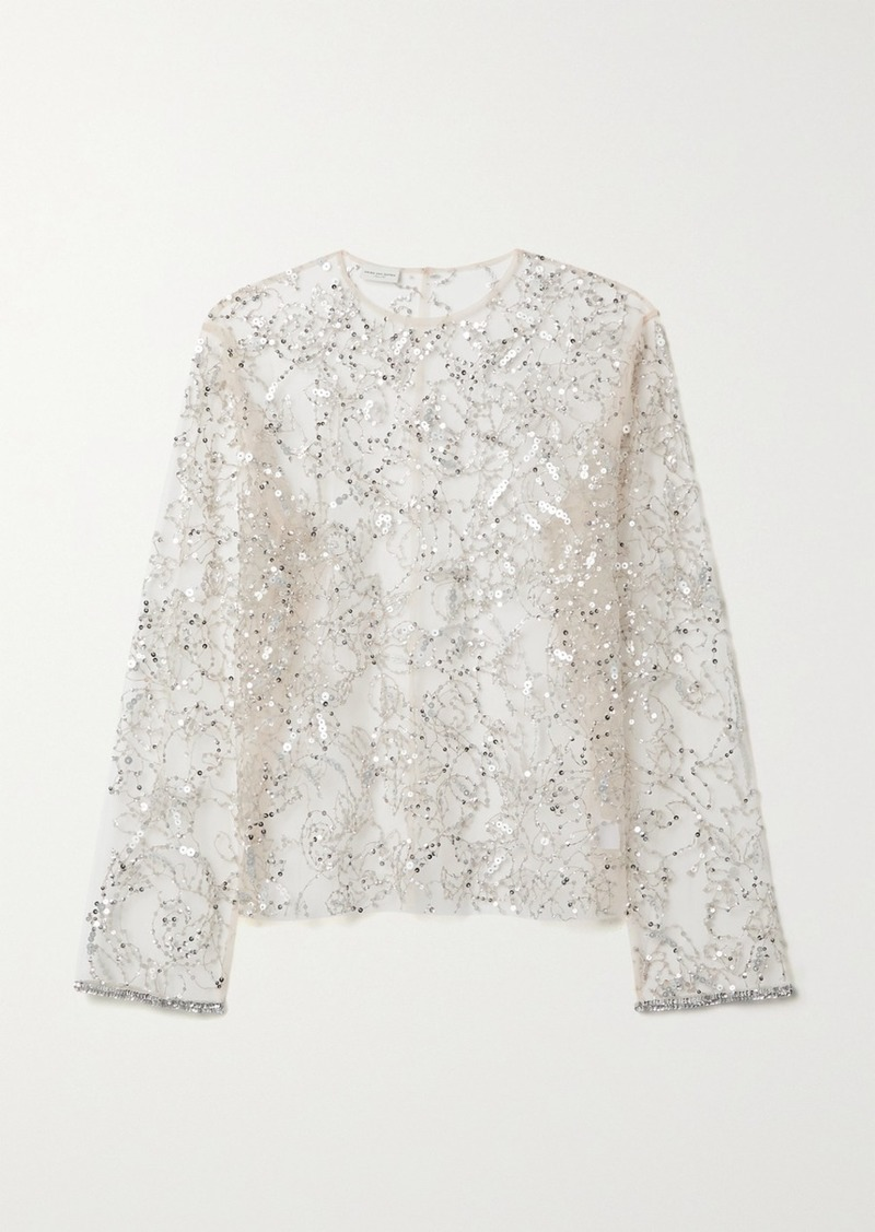 Dries Van Noten Christian Lacroix Embellished Tulle Top