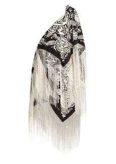 Dries Van Noten Embroidered Fringe Silk Scarf