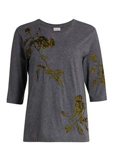 Dries Van Noten Embroidered Three-Quarter Sleeve T-Shirt