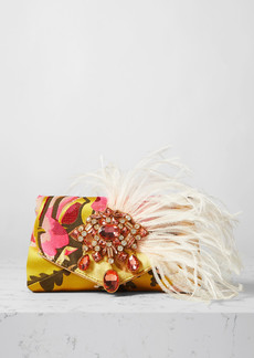 Dries Van Noten Envelope Feather And Crystal-embellished Floral-jacquard Clutch