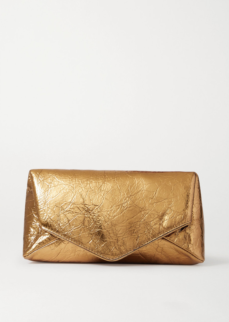 Dries Van Noten Envelope Metallic Crinkled-leather Clutch