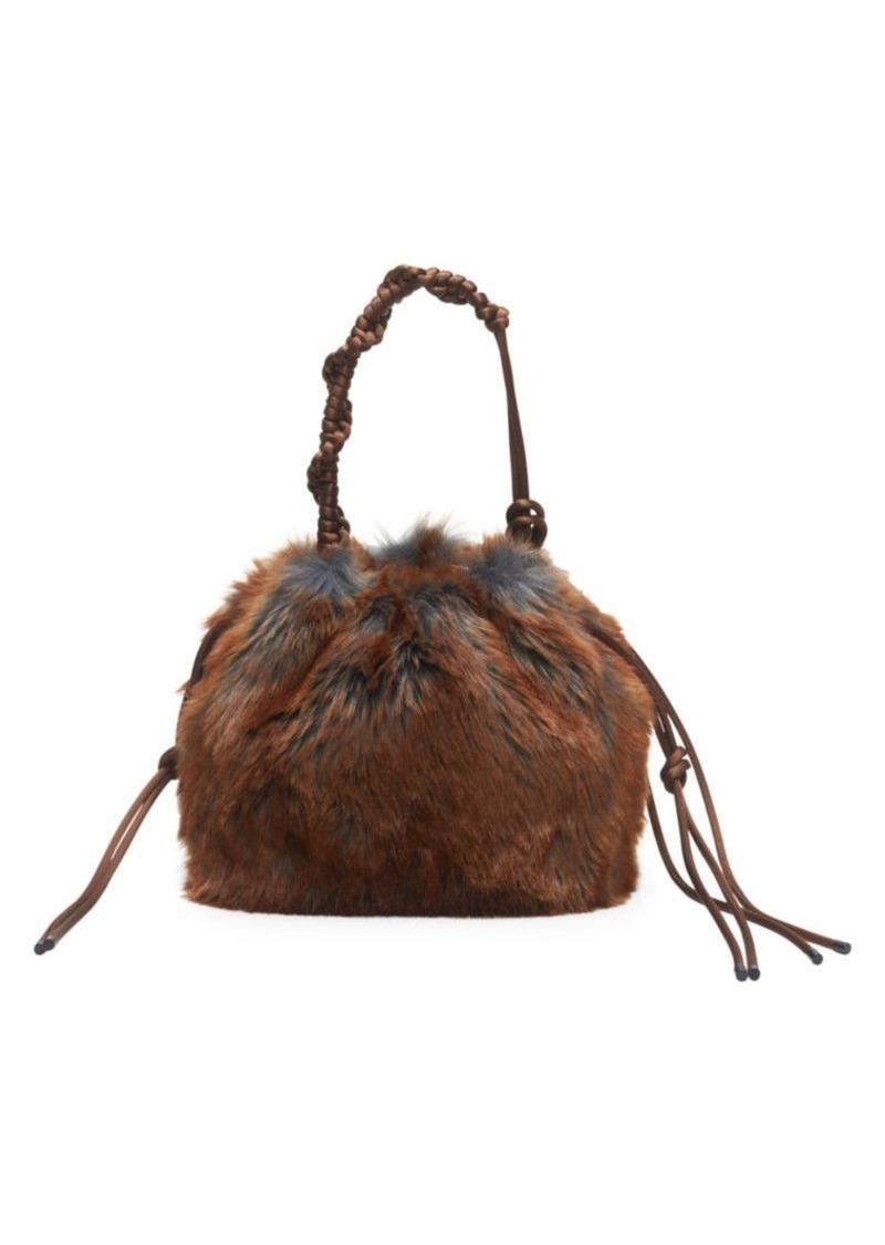 Dries Van Noten Faux Fur Knotted Top Handle Bag
