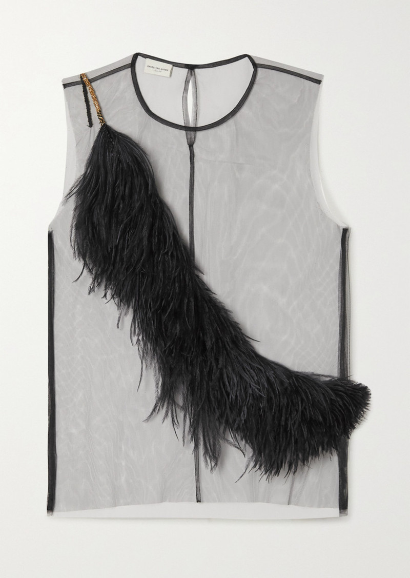 Dries Van Noten Christian Lacroix Feather-trimmed Tulle Top