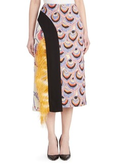Dries Van Noten Feathered Brocade Midi Skirt