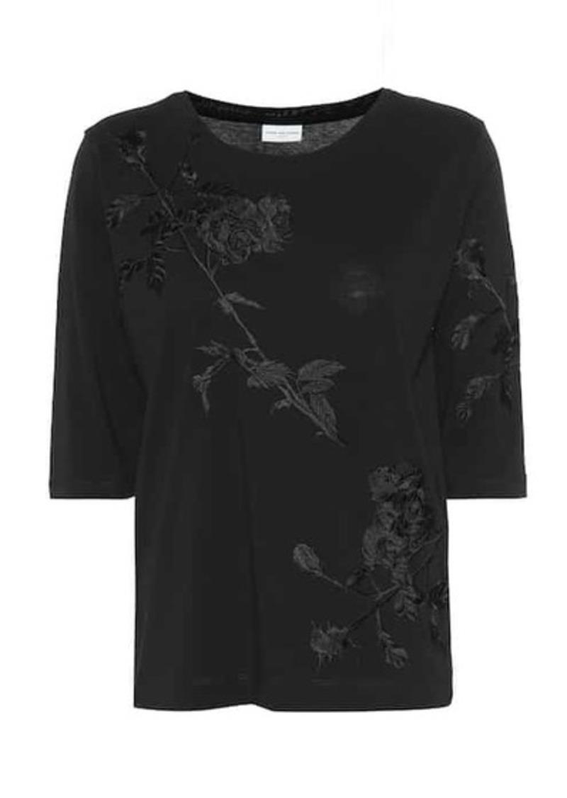Dries Van Noten Floral-embroidered cotton T-shirt