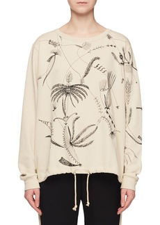 Dries Van Noten Floral-Embroidered Crewneck Long-Sleeve Cotton Pullover Sweatshirt