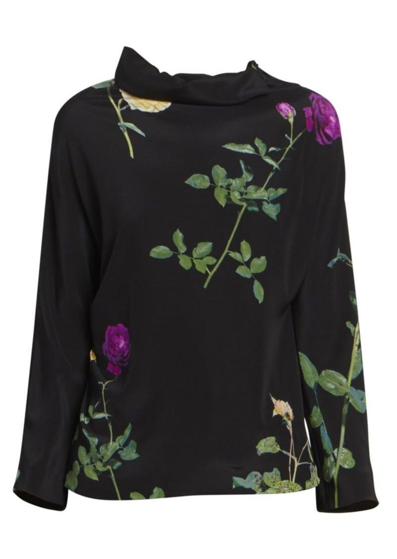Dries Van Noten Floral Funnelneck Silk Top