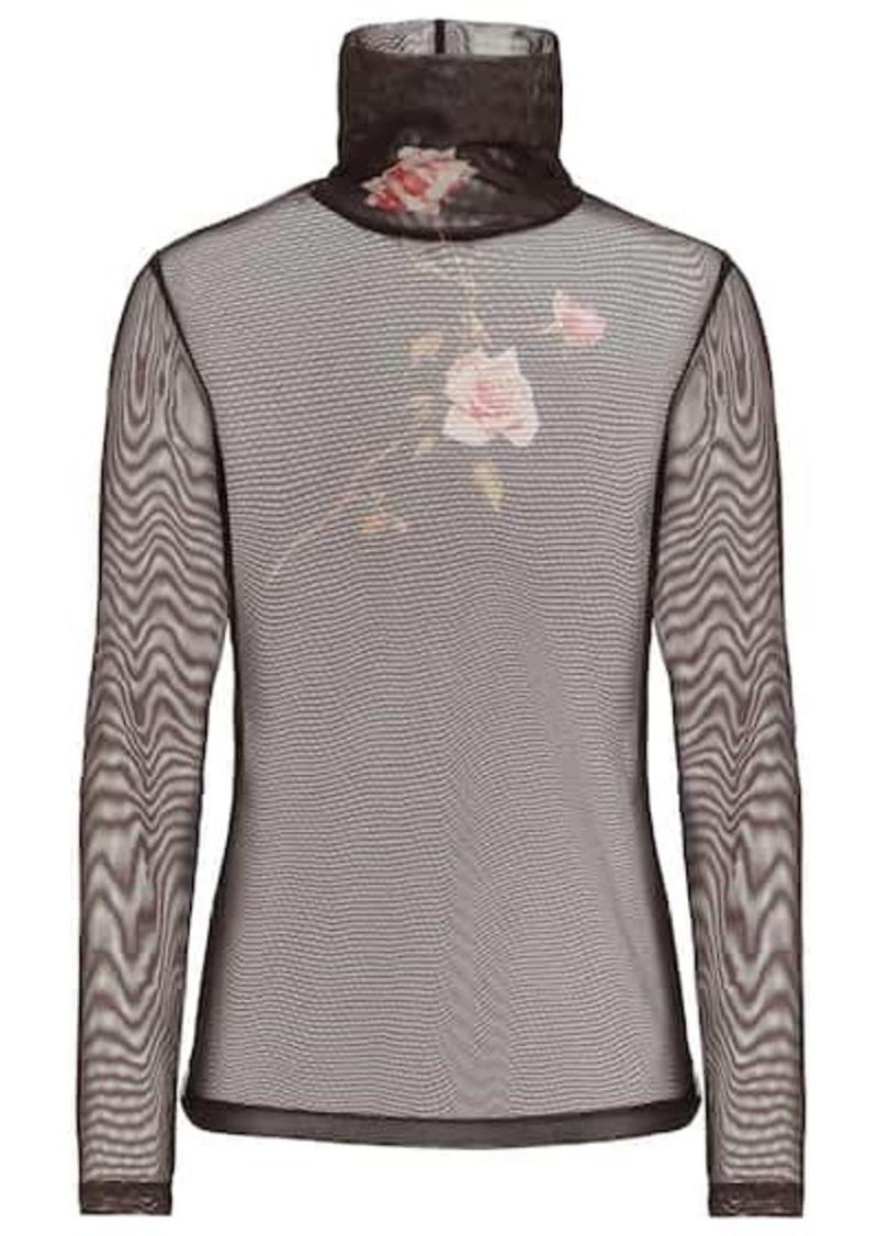 Dries Van Noten Floral mesh turtleneck top