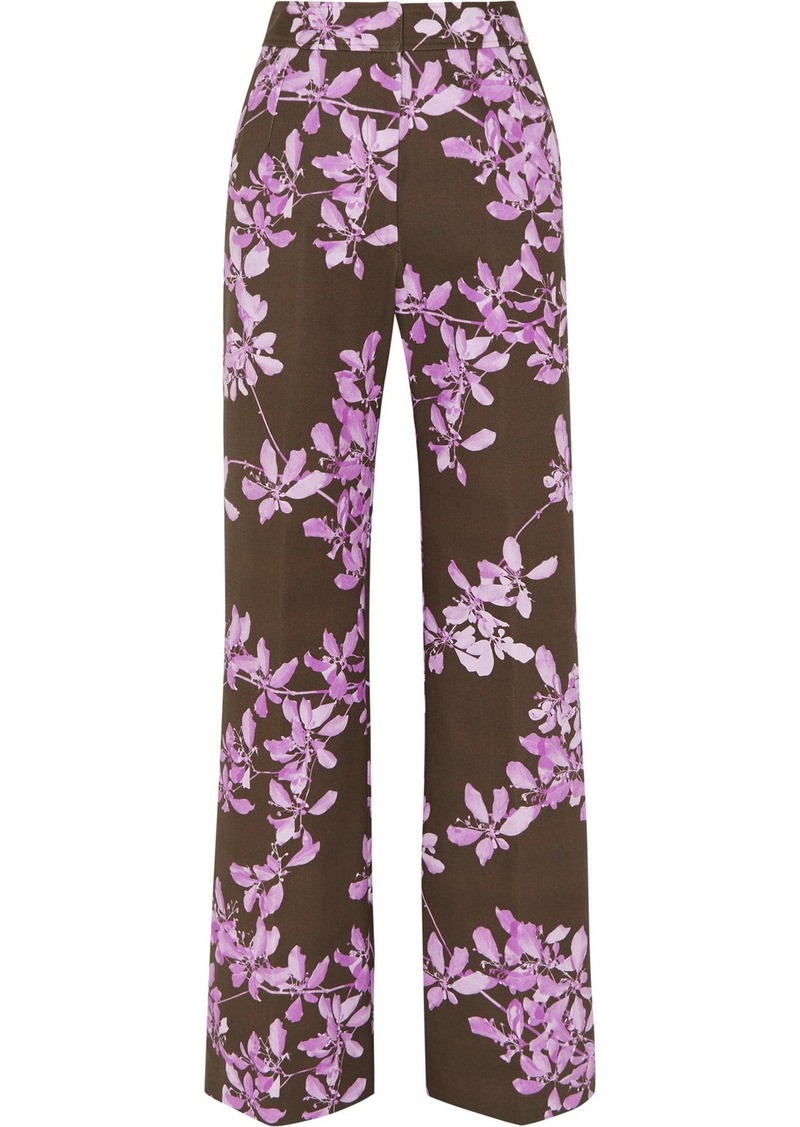 Dries Van Noten Floral-print Cotton-twill Wide-leg Pants