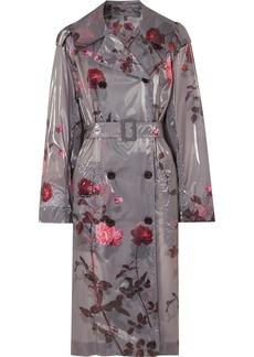 Dries Van Noten Floral-print Pu Trench Coat