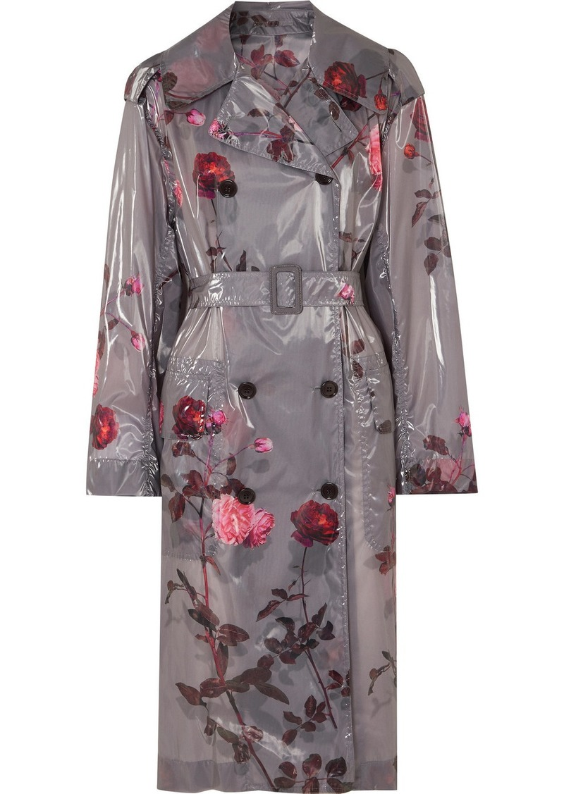 Dries Van Noten Floral-print Pu Trench Coat