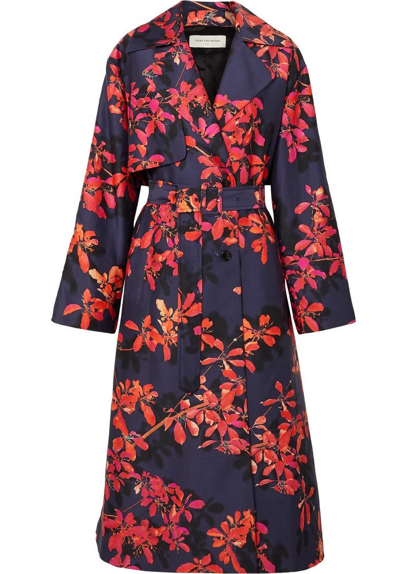 Dries Van Noten Floral-print Satin-twill Trench Coat