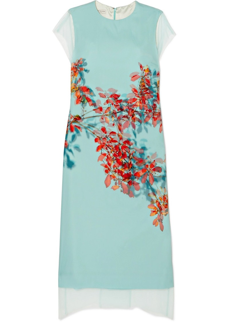 Dries Van Noten Floral-print Silk-tulle And Silk Crepe De Chine Dress