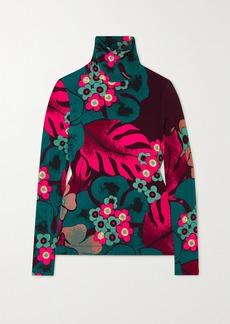 Dries Van Noten Floral-print Stretch-jersey Turtleneck Top