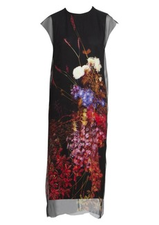Dries Van Noten Floral Silk Overlay Cap-Sleeve Dress