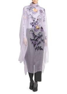 Dries Van Noten Floral Silk Tulle Overlay Blouse