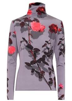 Dries Van Noten Floral stretch-jersey turtleneck top