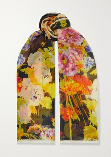 Dries Van Noten Foxglove Fringed Floral-print Silk And Modal-blend Scarf