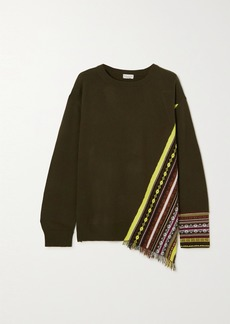 Dries Van Noten Fringed Jacquard-knit Cashmere-blend Sweater