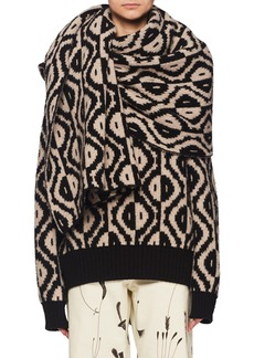 Dries Van Noten Geo-Intarsia Oversized Wool-Cashmere Scarf