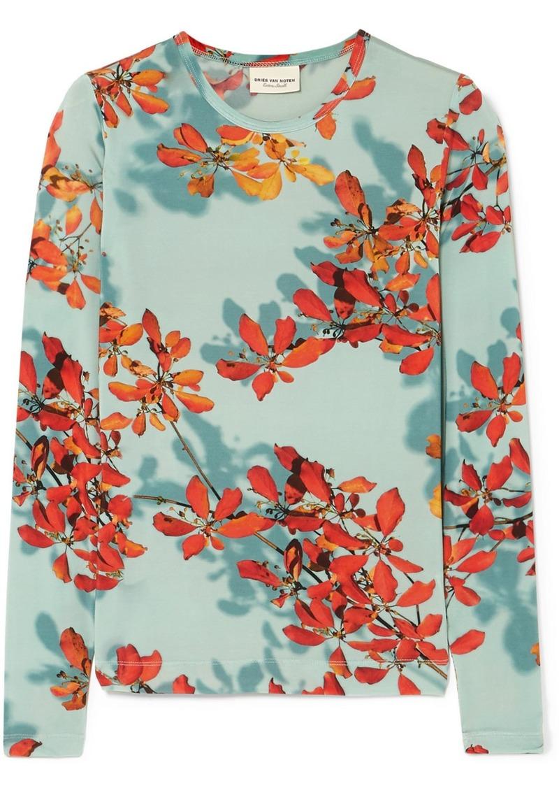 Dries Van Noten Hatik Floral-print Stretch-jersey Top
