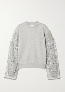 Dries Van Noten Embellished Tulle-paneled Cotton-blend Jersey Sweatshirt