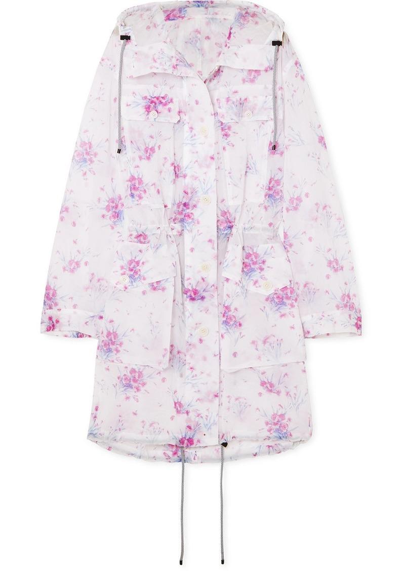 Dries Van Noten Hooded Floral-print Crinkled-organza Coat