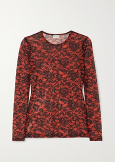 Dries Van Noten Floral-print Stretch-mesh Top