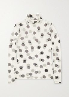Dries Van Noten Polka-dot Stretch-mesh Turtleneck Top