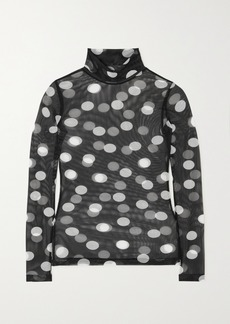 Dries Van Noten Hotala Polka-dot Stretch-tulle Turtleneck Top