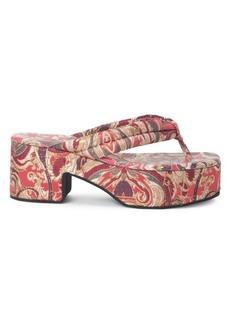 Dries Van Noten Jacquard Platform Thong Sandals