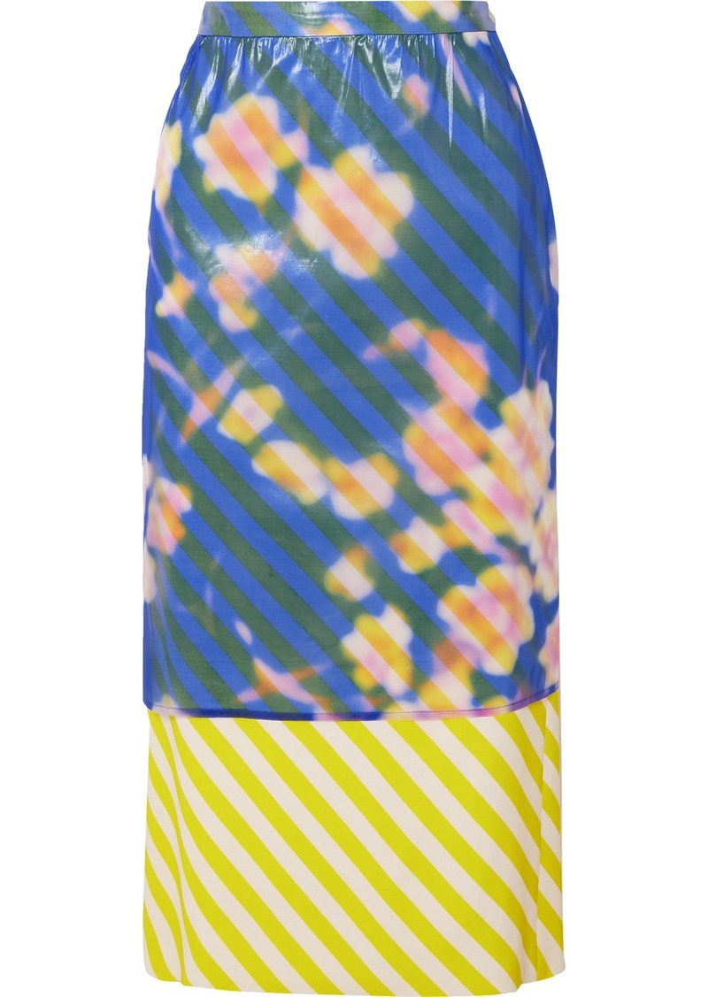 Dries Van Noten Layered Floral-print Crinkled-organza And Striped Satin Midi Skirt