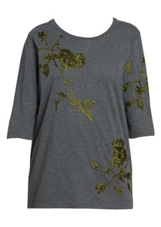 Dries Van Noten Leaf Embroidery Three-Quarter Tee
