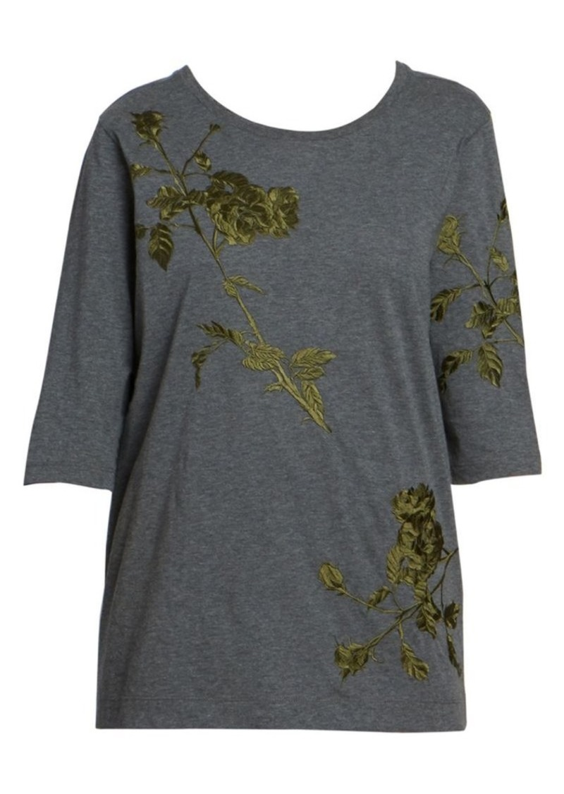 Dries Van Noten Leaf Embroidery Three-Quarter Tee